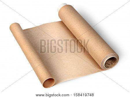 Parchment paper for baking unwound from two sides isolated on white background