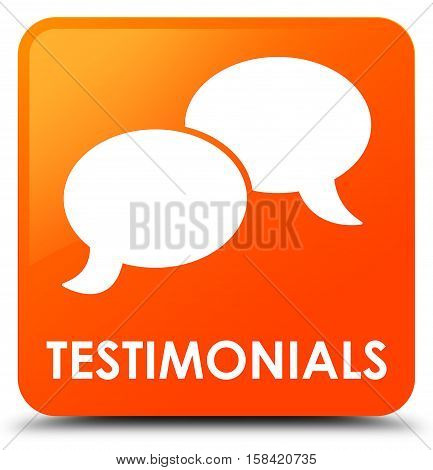 Testimonials (chat icon) on orange square button