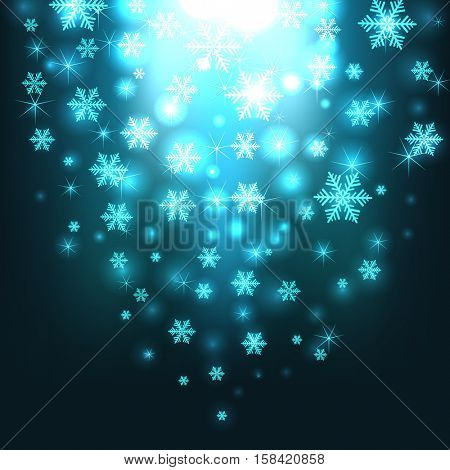 Abstract blue snowfall burst Christmas vector background.