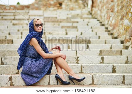 French Woman In Cannes, At Le Suquet