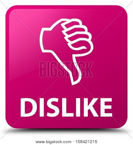 Dislike (thumbs down icon) pink square button