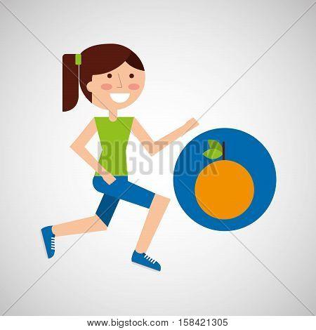 girl jogger orange healthy lifestyle vector illustration eps 10