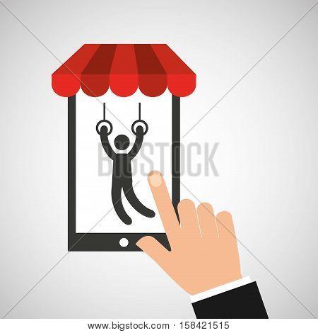 mobile phone silhouette sportman still rings vector illustration eps 10