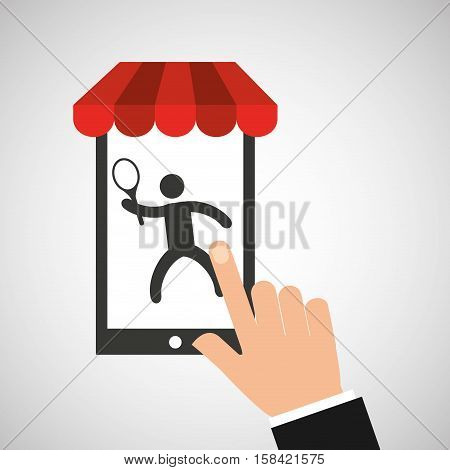 mobile phone silhouette sportman tennis vector illustration eps 10