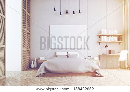 Front View Of A King Size Bed And A Study Corner In A Bedroom, Toned