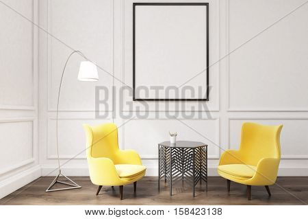 Interior Of A Living Room With Framed Poster And Two Yellow Armchairs Near Coffee Table