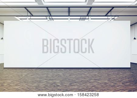 Large Blank Wall In An Art Gallery With Dark Wood Floor, Toned