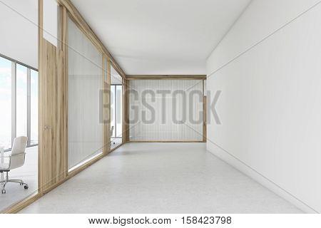 Empty Office Corridor With A Wooden Door Meeting Room