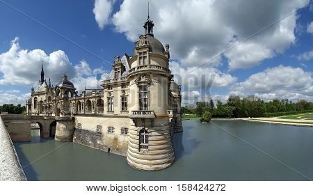 Panoramic View Of The Hateau De Chantilly ( Chantilly Castle ), Oise, Picardie, France