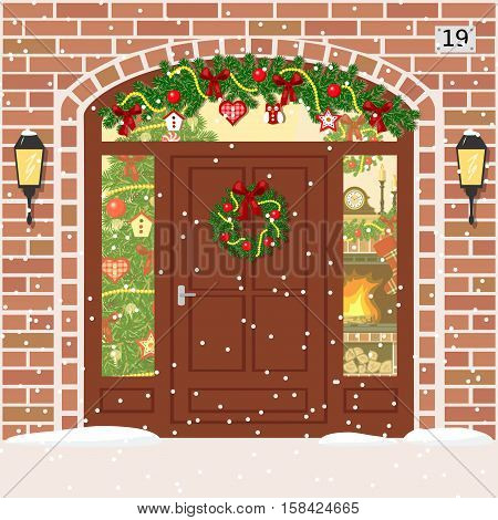 Christmas decorated and Illuminated door house entrance with Sidelight Window garland wreath. Facade of red bricks with xmas tree snowflakes fireplace. Vector. For postcards prints banner