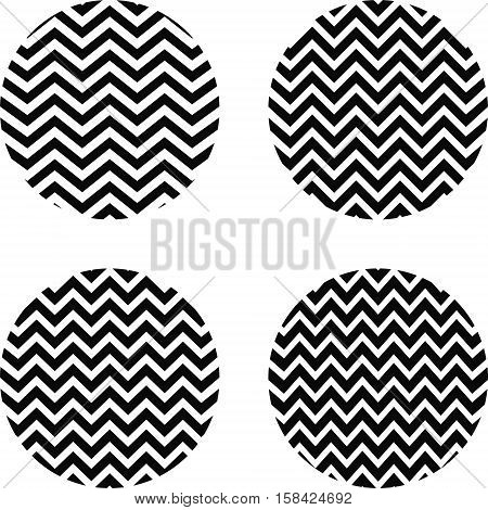 set of circles with a zigzag pattern, a circle with curved lines of zigzag pattern with a different number of curves, vector for vintage textiles
