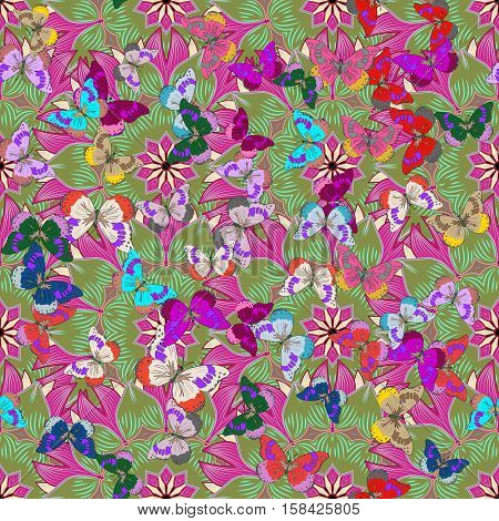 seamless floral background with butterflies. Dim background. Vector illustration.