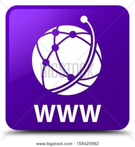 Www (global Network Icon) Purple Square Button