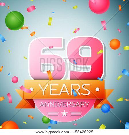 Sixty nine years anniversary celebration background. Anniversary ribbon