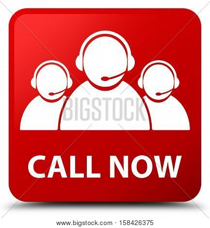 Call Now (customer Care Team Icon) Red Square Button