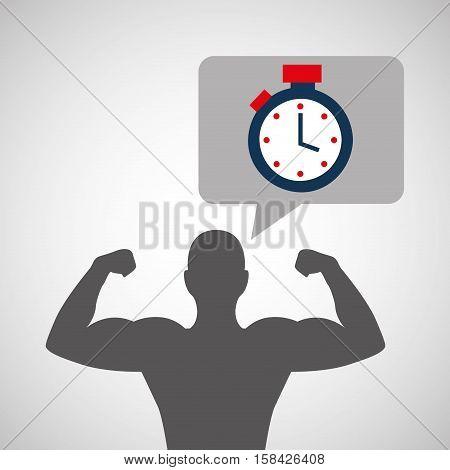 silhouette man bodybuilder chronometer vector illustration eps 10