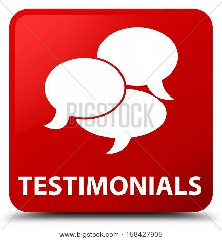 Testimonials (comments icon) isolated on abstract red square button