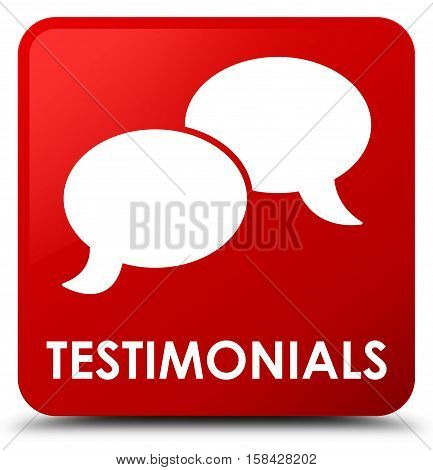 Testimonials (chat icon) isolated on abstract red square button