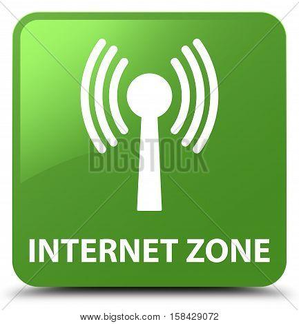 Internet Zone (wlan Network) Soft Green Square Button