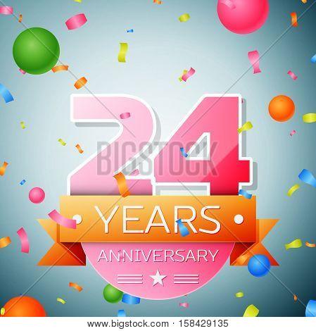 Twenty four years anniversary celebration background. Anniversary ribbon