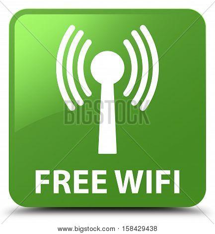 Free Wifi (wlan Network) Soft Green Square Button