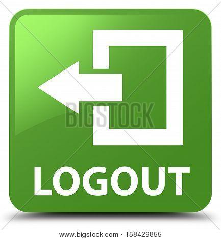 Logout (arrow icon) soft green square button