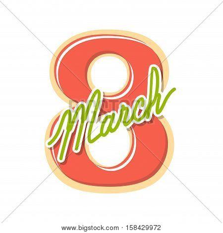 8 March International Womens Day. Holiday Symbol. Eight Emblem.