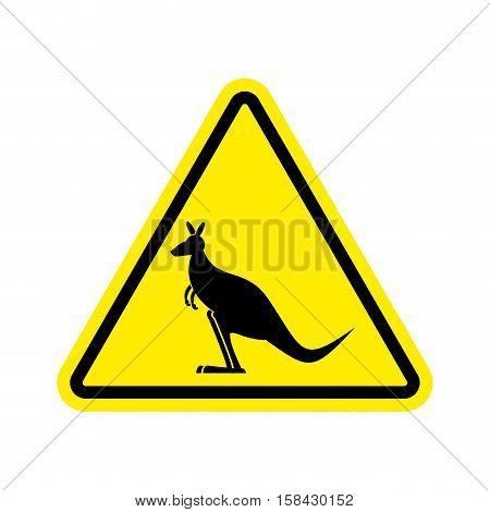 Kangaroo Warning Sign. Wallaby Hazard Attention Symbol. Danger Road Sign Yellow Triangle Australian