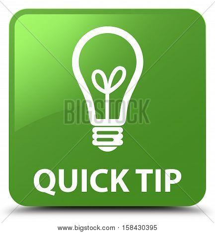 Quick Tip (bulb Icon) Soft Green Square Button