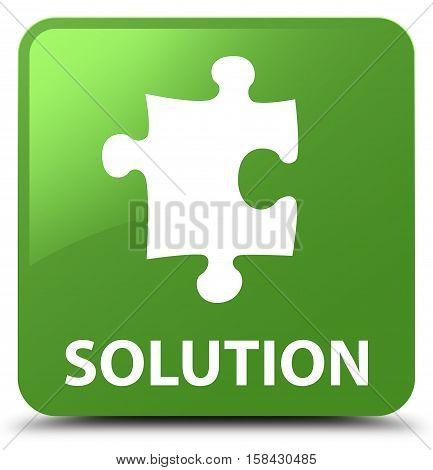 Solution (puzzle Icon) Soft Green Square Button