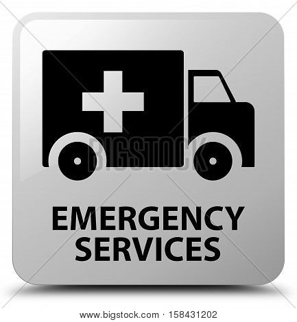 Emergency services (ambulance icon) white square button