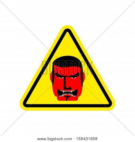 Angry Boss Warning Sign Yellow. Evil Head Hazard Attention Symbol. Danger Road Sign Triangle Terribl