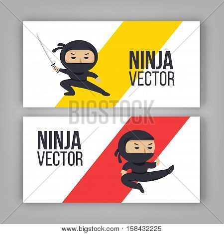Set of ninja characters showing different actions. Serious ninja with sword. Flat style vector banner