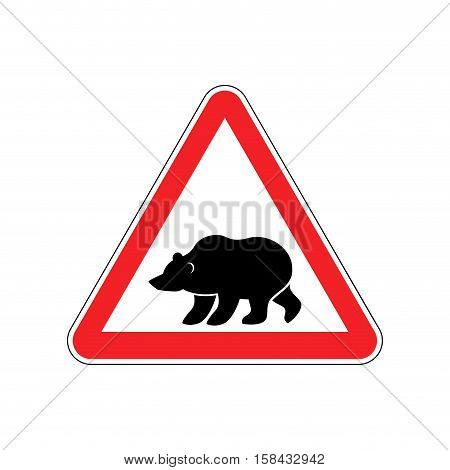 Bear Warning Sign Red. Predator Hazard Attention Symbol. Danger Road Sign Triangle Wild Beast