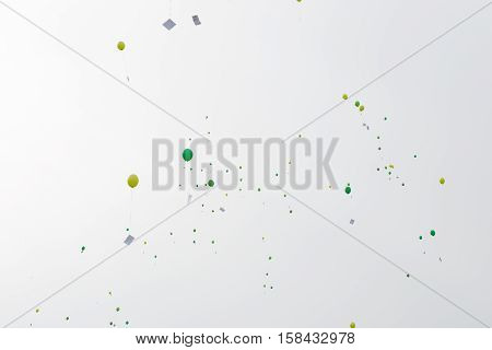 Green Balloons With Letters And Messages In The Air