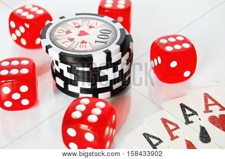 Poker Dice, Chips And Play Cards On White Background