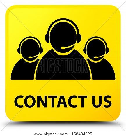 Contact Us (customer Care Team Icon) Yellow Square Button