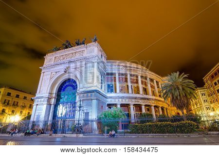 Night View Of The Politeama Garibaldi Theater In Palermo, Sicily, Italy.