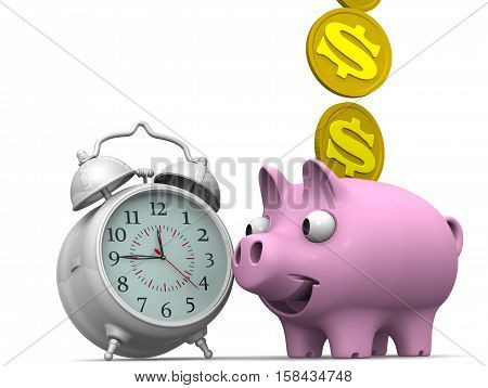 Time is money. Financial concept. Alarm clock and piggy bank with a coin of the US dollar on a white surface. Financial concept. 3D illustration. Isolated