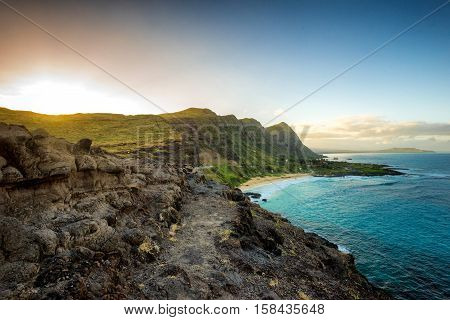Mountain view of sunset at the south shore of Oahu, Hawaii - otherwise known as the Ka Iwi coast