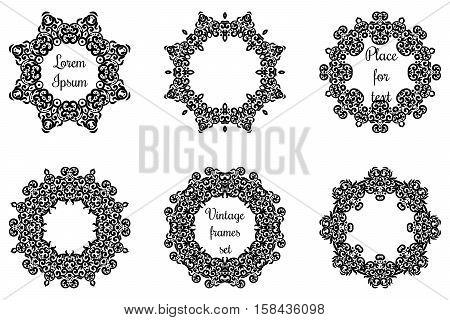 Round Geometric Ornaments Set Intricate Lacy Vector Round Frames.circle Lace Ornament , Geometric Do