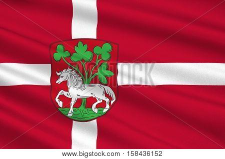 Flag of Horsens in Central Jutland Region in Denmark. 3d illustration