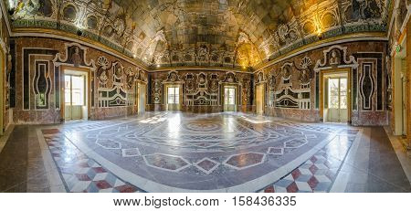 PALERMO, ITALY - SEPTEMBER 10, 2015: Panorama of the interior of Villa Palagonia in Bagheria, 15 km from Palermo, in Sicily, southern Italy. Villa is one of the earliest examples of Sicilian Baroque.
