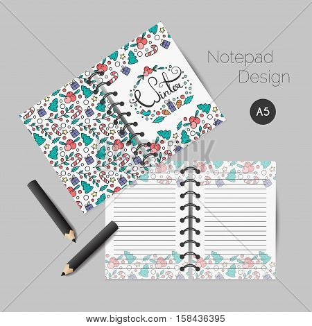 Christmas planner template. New Year cards, notepad, scrapbooking, bullet proof journal. Vector illustration