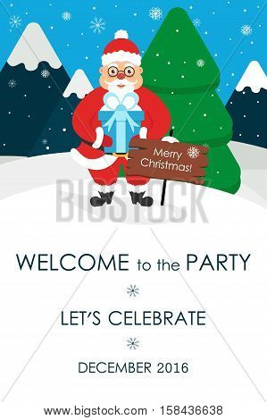 Christmas party invitation.Place for your text message. Greeting card. Cute Santa. Vector illustration. Flat design.
