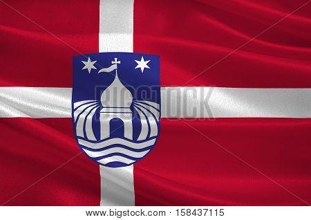 Flag of Lemvig in Central Jutland Region in Denmark. 3d illustration