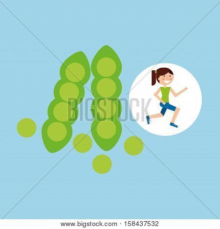 girl jogger peas healthy lifestyle vector illustration eps 10