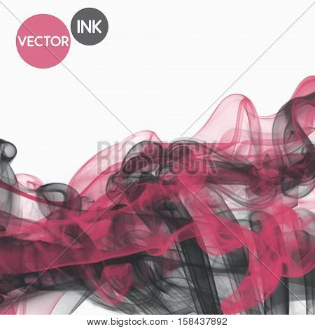 Vector abstract ink pink grey mix cloud. Ink swirling in air, cloud of ink in water isolated on white. Fancy banner paints. Holi color decoration. Fantasy print