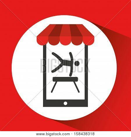 mobile phone silhouette sportman artistic gymnastic vector illustration eps 10