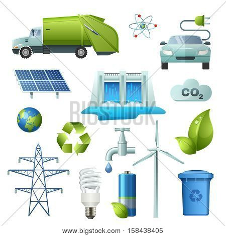Set of isolated icon ecology elements with signs for alternate energy sources earth recycling electric cars vector illustration